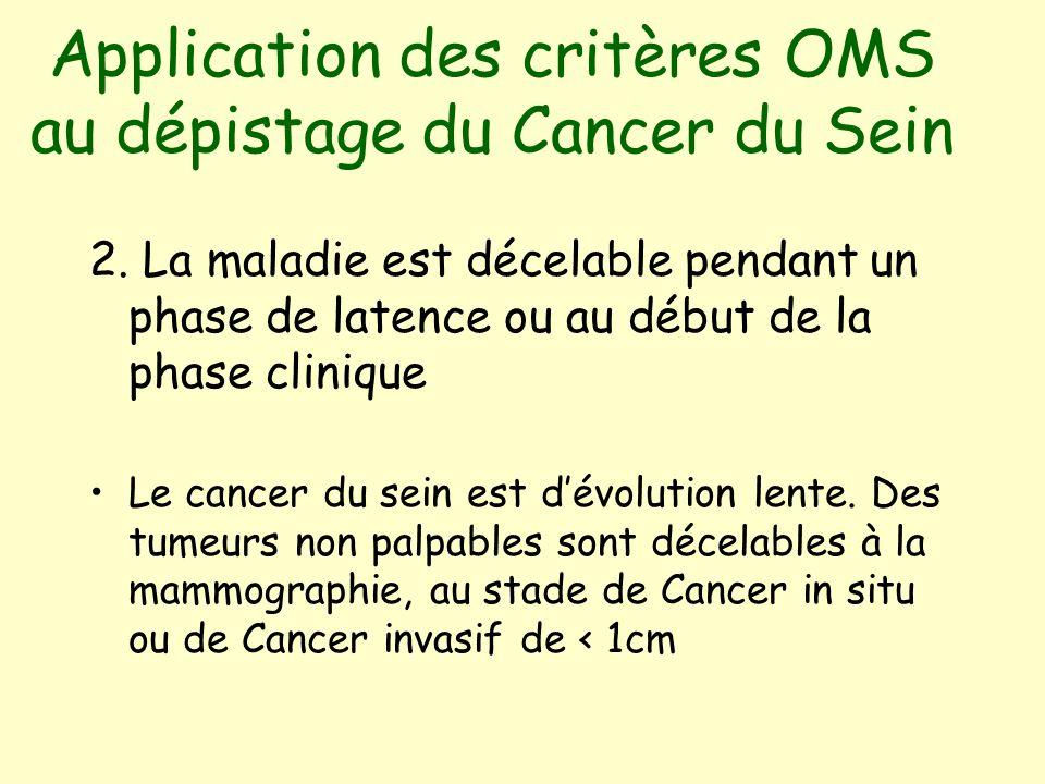 Application des critères OMS au dépistage du Cancer du Sein 2.