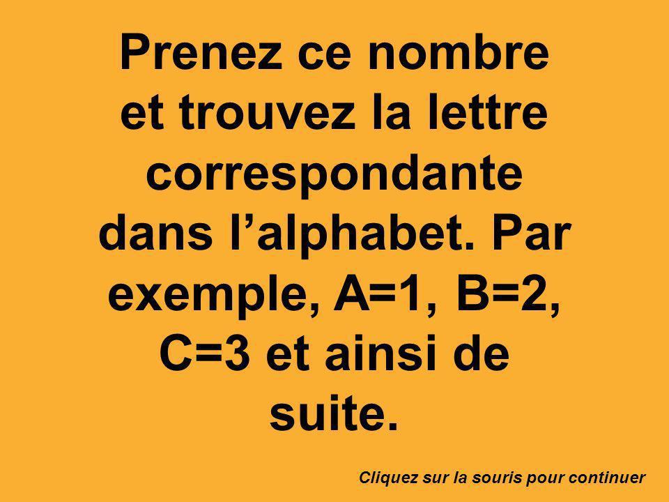 Prenez ce nombre et trouvez la lettre correspondante dans lalphabet. Par exemple, A=1, B=2, C=3 et ainsi de suite. Cliquez sur la souris pour continue