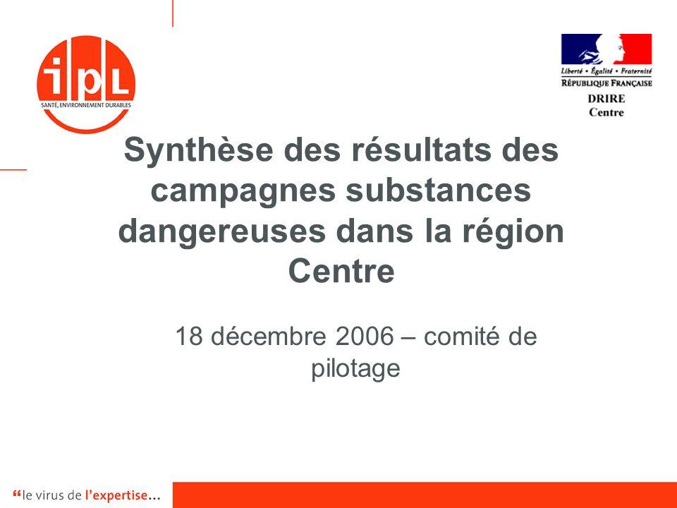 Synthèse des résultats des campagnes substances dangereuses dans la région Centre 18 décembre 2006 – comité de pilotage