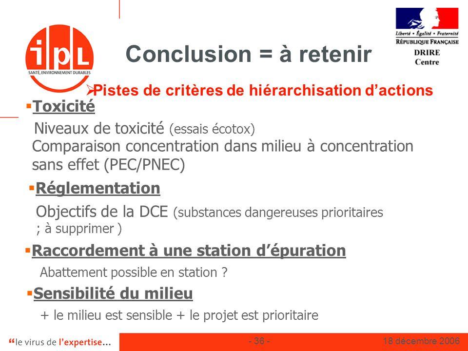 - 36 -18 décembre 2006 Conclusion = à retenir Pistes de critères de hiérarchisation dactions Toxicité Niveaux de toxicité (essais écotox) Comparaison