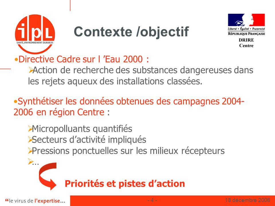 - 4 -18 décembre 2006 Contexte /objectif Directive Cadre sur l Eau 2000 : Action de recherche des substances dangereuses dans les rejets aqueux des in