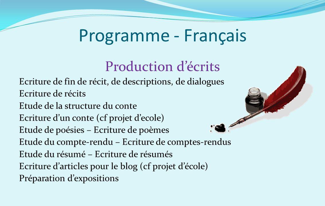 Programme - Français Production décrits Ecriture de fin de récit, de descriptions, de dialogues Ecriture de récits Etude de la structure du conte Ecri