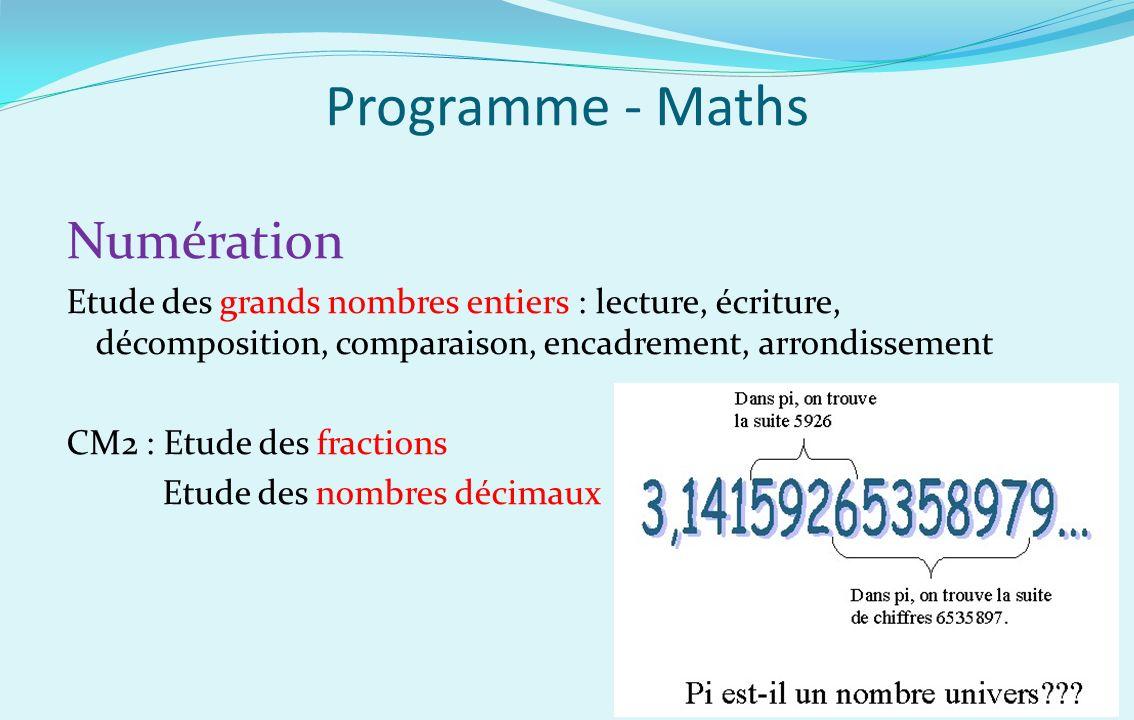 Programme - Maths Numération Etude des grands nombres entiers : lecture, écriture, décomposition, comparaison, encadrement, arrondissement CM2 : Etude
