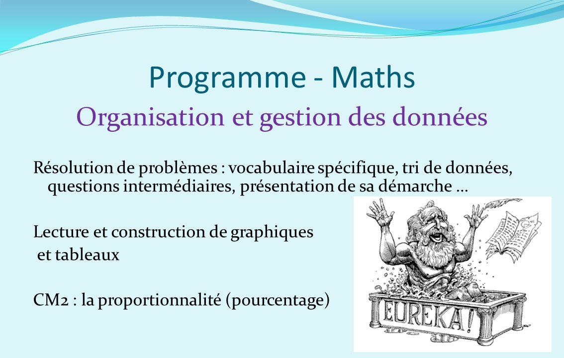 Programme - Maths Organisation et gestion des données Résolution de problèmes : vocabulaire spécifique, tri de données, questions intermédiaires, prés