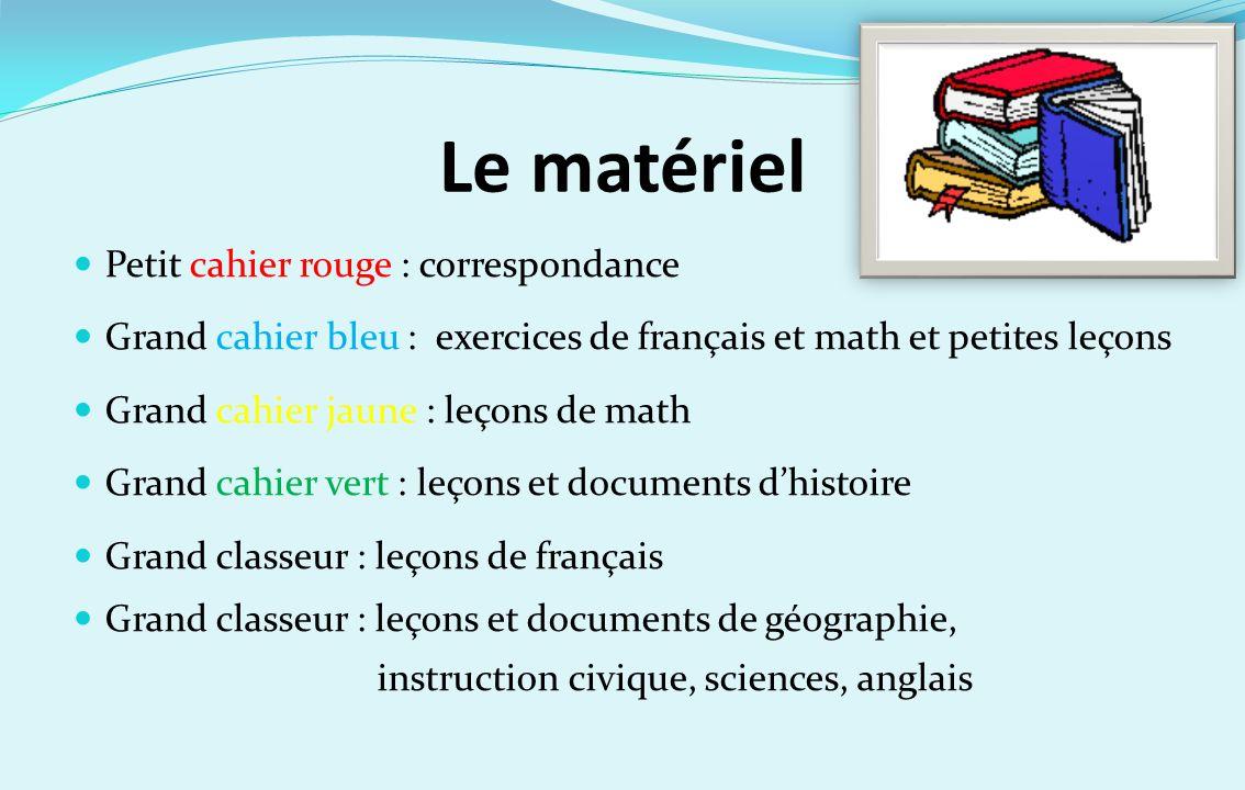 Le matériel Petit cahier rouge : correspondance Grand cahier bleu : exercices de français et math et petites leçons Grand cahier jaune : leçons de mat