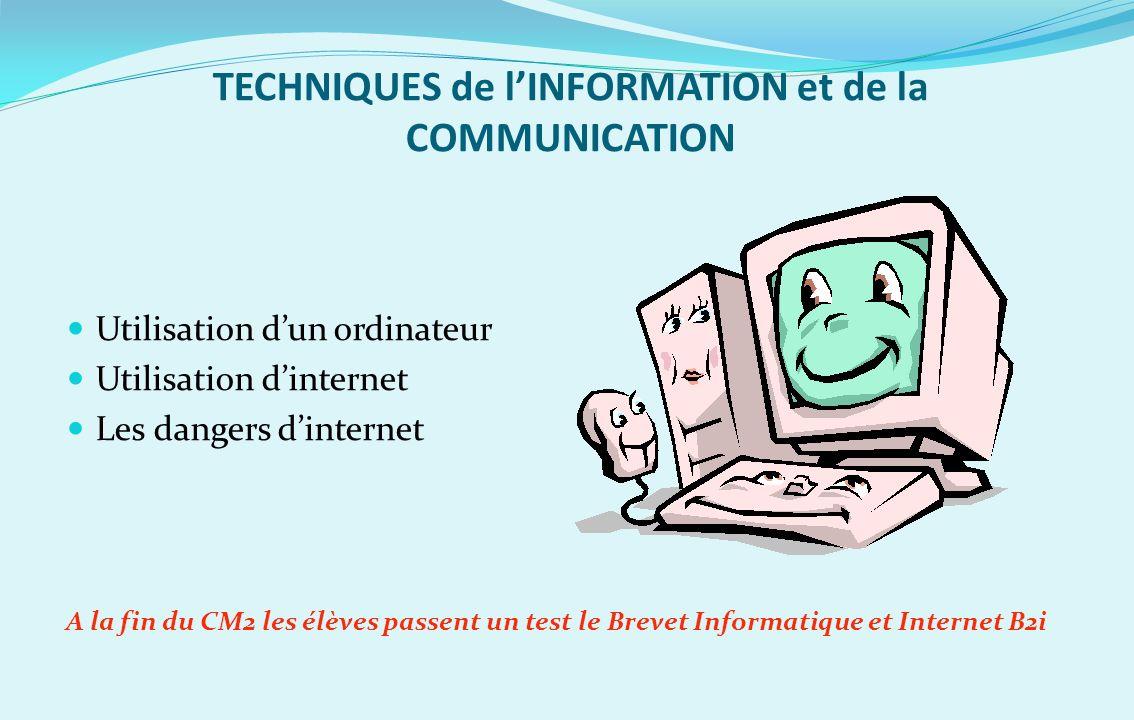 TECHNIQUES de lINFORMATION et de la COMMUNICATION Utilisation dun ordinateur Utilisation dinternet Les dangers dinternet A la fin du CM2 les élèves pa