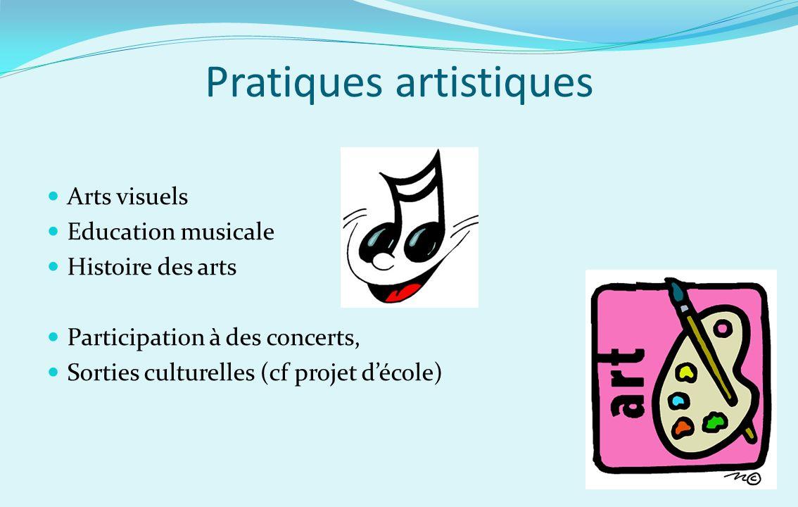 Pratiques artistiques Arts visuels Education musicale Histoire des arts Participation à des concerts, Sorties culturelles (cf projet décole)
