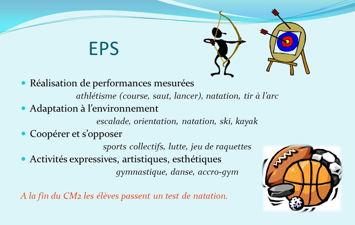 EPS Réalisation de performances mesurées athlétisme (course, saut, lancer), natation, tir à larc Adaptation à lenvironnement escalade, orientation, na