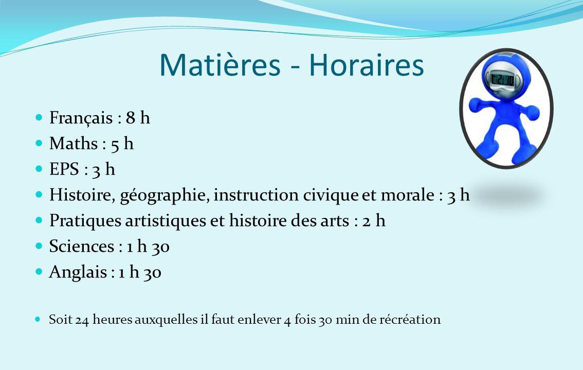 Matières - Horaires Français : 8 h Maths : 5 h EPS : 3 h Histoire, géographie, instruction civique et morale : 3 h Pratiques artistiques et histoire d