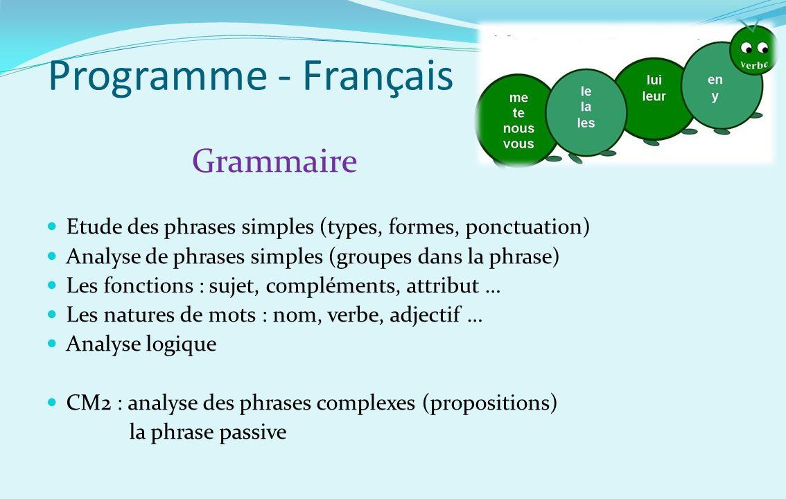 Programme - Français Grammaire Etude des phrases simples (types, formes, ponctuation) Analyse de phrases simples (groupes dans la phrase) Les fonction
