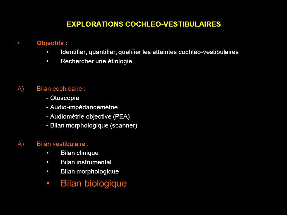 EXPLORATIONS COCHLEO-VESTIBULAIRES Objectifs : Identifier, quantifier, qualifier les atteintes cochléo-vestibulaires Rechercher une étiologie A)Bilan