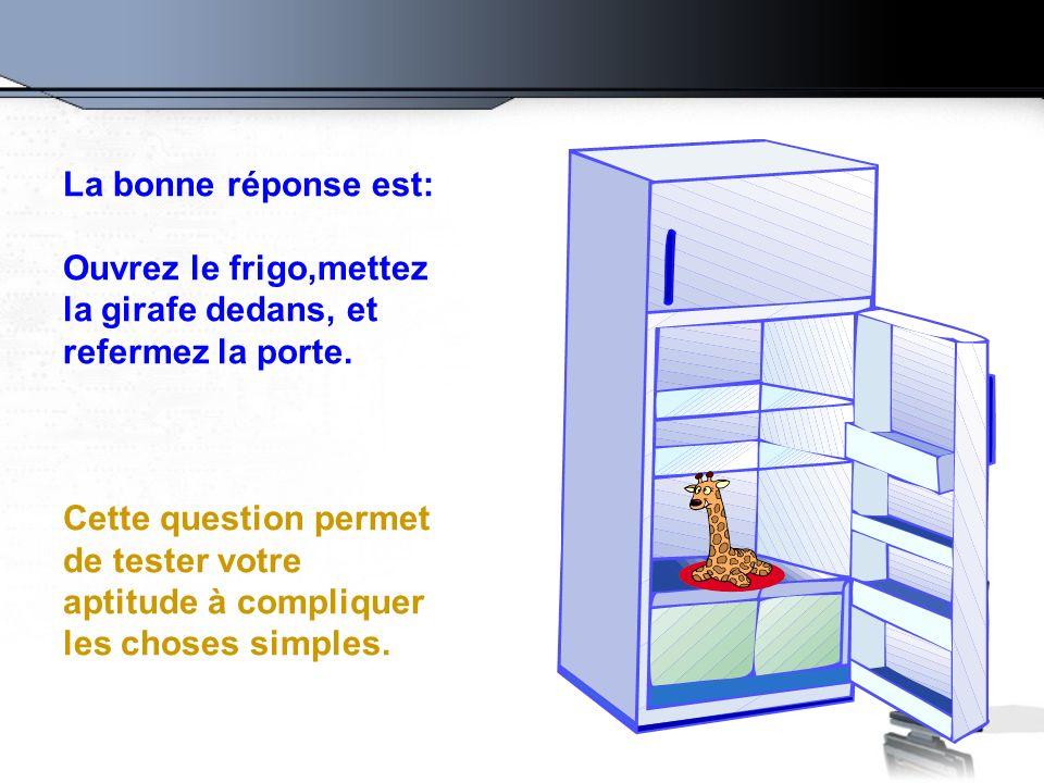 La bonne réponse est: Ouvrez le frigo,mettez la girafe dedans, et refermez la porte. Cette question permet de tester votre aptitude à compliquer les c