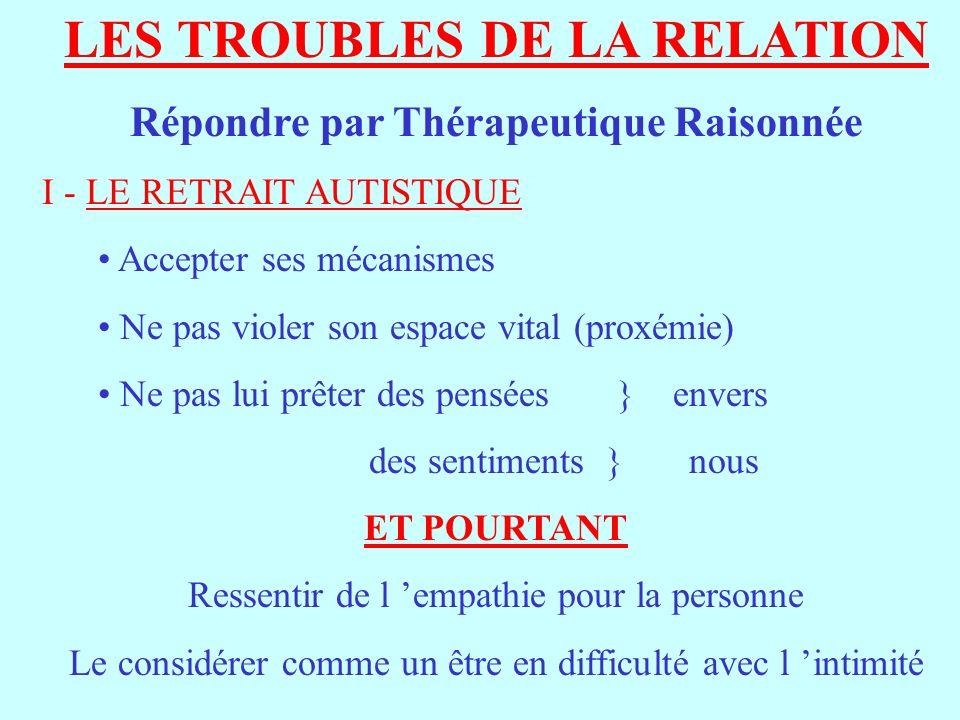 LES TROUBLES DE LA RELATION Répondre par Thérapeutique Raisonnée I - LE RETRAIT AUTISTIQUE Accepter ses mécanismes Ne pas violer son espace vital (pro