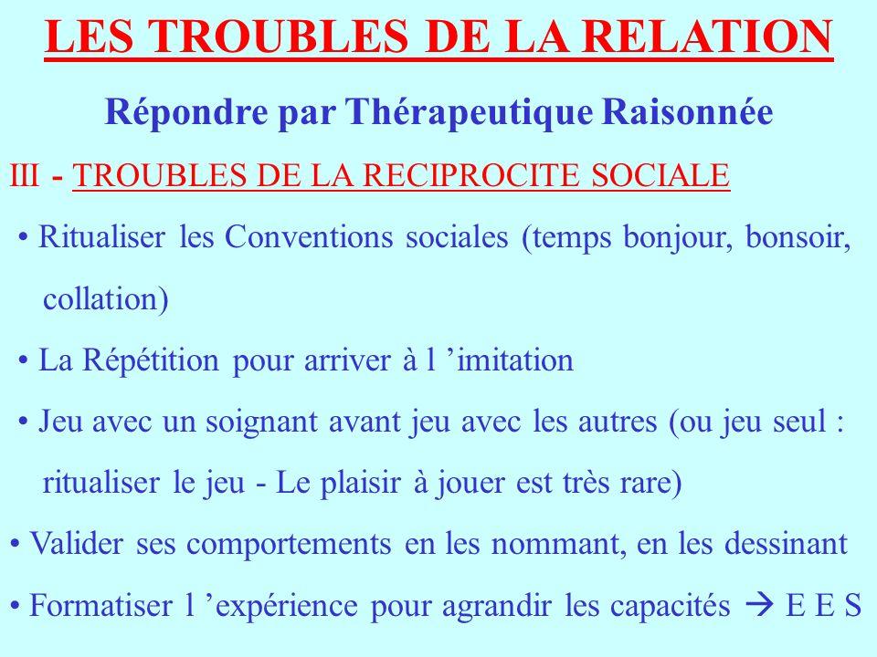 LES TROUBLES DE LA RELATION Répondre par Thérapeutique Raisonnée III - TROUBLES DE LA RECIPROCITE SOCIALE Ritualiser les Conventions sociales (temps b
