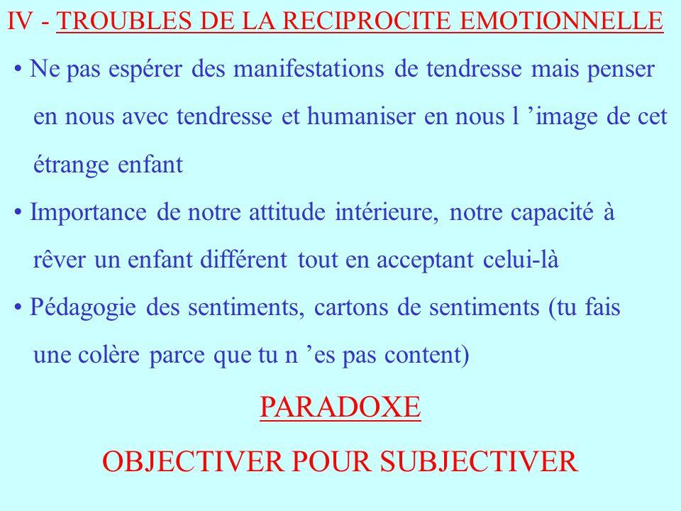 IV - TROUBLES DE LA RECIPROCITE EMOTIONNELLE Ne pas espérer des manifestations de tendresse mais penser en nous avec tendresse et humaniser en nous l