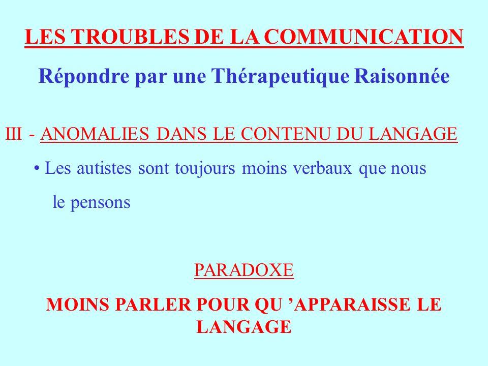 LES TROUBLES DE LA COMMUNICATION Répondre par une Thérapeutique Raisonnée III - ANOMALIES DANS LE CONTENU DU LANGAGE Les autistes sont toujours moins