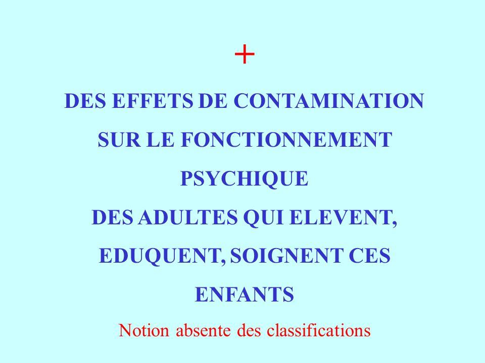 + DES EFFETS DE CONTAMINATION SUR LE FONCTIONNEMENT PSYCHIQUE DES ADULTES QUI ELEVENT, EDUQUENT, SOIGNENT CES ENFANTS Notion absente des classifications