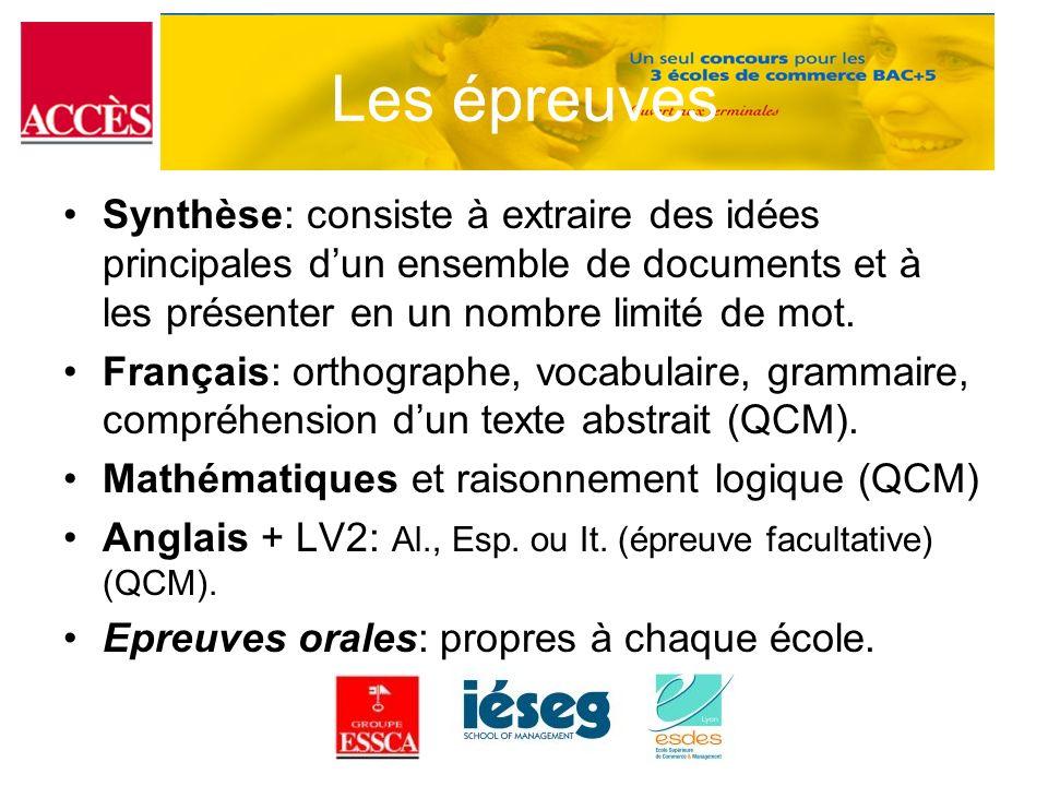 Les épreuves Synthèse: consiste à extraire des idées principales dun ensemble de documents et à les présenter en un nombre limité de mot. Français: or