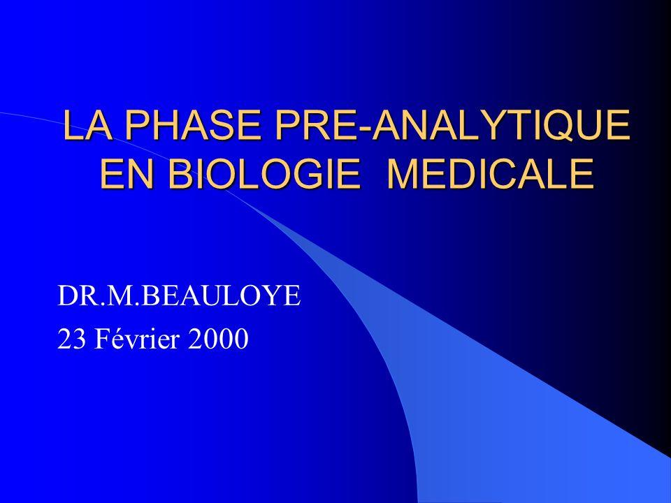 LA PHASE PRE-ANALYTIQUE EN BIOLOGIE MEDICALE DR.M.BEAULOYE 23 Février 2000