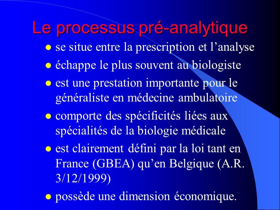 Le processus pré-analytique l se situe entre la prescription et lanalyse l échappe le plus souvent au biologiste l est une prestation importante pour le généraliste en médecine ambulatoire l comporte des spécificités liées aux spécialités de la biologie médicale l est clairement défini par la loi tant en France (GBEA) quen Belgique (A.R.