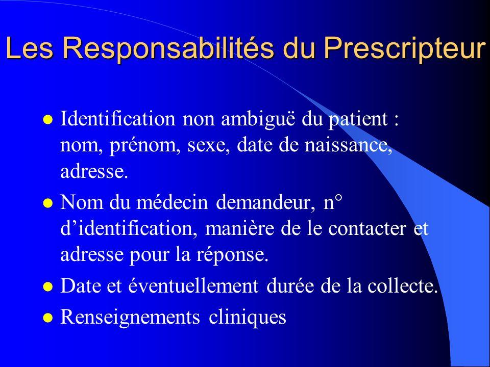 Les Responsabilités du Prescripteur l Identification non ambiguë du patient : nom, prénom, sexe, date de naissance, adresse. l Nom du médecin demandeu