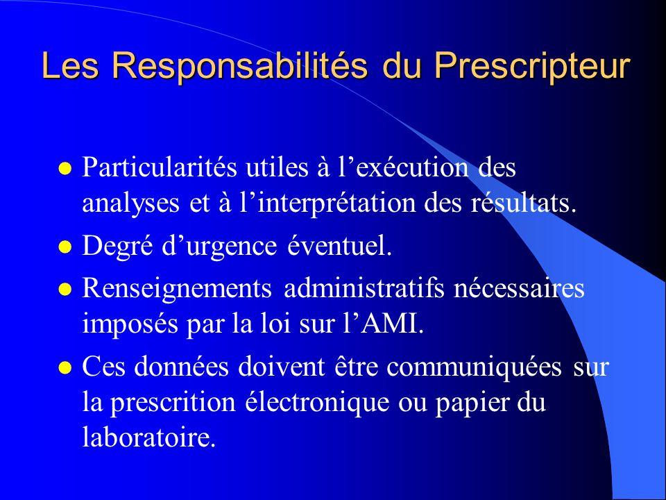 Les Responsabilités du Prescripteur l Particularités utiles à lexécution des analyses et à linterprétation des résultats. l Degré durgence éventuel. l