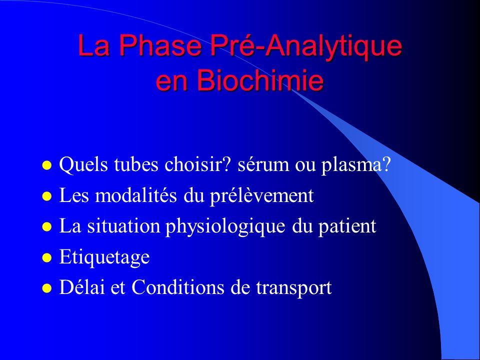 La Phase Pré-Analytique en Biochimie l Quels tubes choisir? sérum ou plasma? l Les modalités du prélèvement l La situation physiologique du patient l