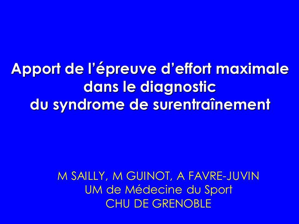 Apport de lépreuve deffort maximale dans le diagnostic du syndrome de surentraînement M SAILLY, M GUINOT, A FAVRE-JUVIN UM de Médecine du Sport CHU DE