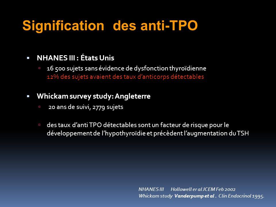 Signification des anti-TPO NHANES III Hollowell er al JCEM Feb 2002 Whickam study Vanderpump et al.