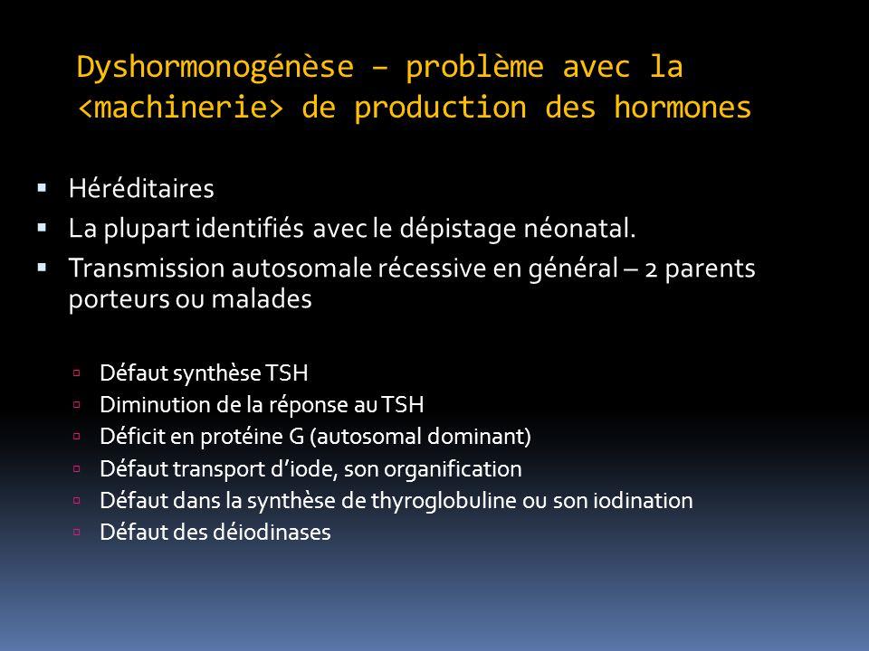 Dyshormonogénèse – problème avec la de production des hormones Héréditaires La plupart identifiés avec le dépistage néonatal. Transmission autosomale