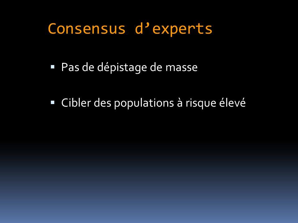 Consensus dexperts Pas de dépistage de masse Cibler des populations à risque élevé