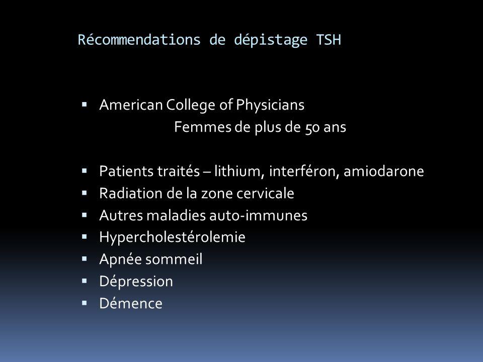 Récommendations de dépistage TSH American College of Physicians Femmes de plus de 50 ans Patients traités – lithium, interféron, amiodarone Radiation de la zone cervicale Autres maladies auto-immunes Hypercholestérolemie Apnée sommeil Dépression Démence