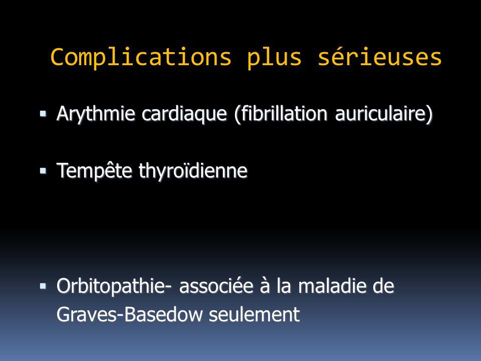 Complications plus sérieuses Arythmie cardiaque (fibrillation auriculaire) Arythmie cardiaque (fibrillation auriculaire) Tempête thyroïdienne Tempête thyroïdienne Orbitopathie- associée à la maladie de Orbitopathie- associée à la maladie de Graves-Basedow seulement