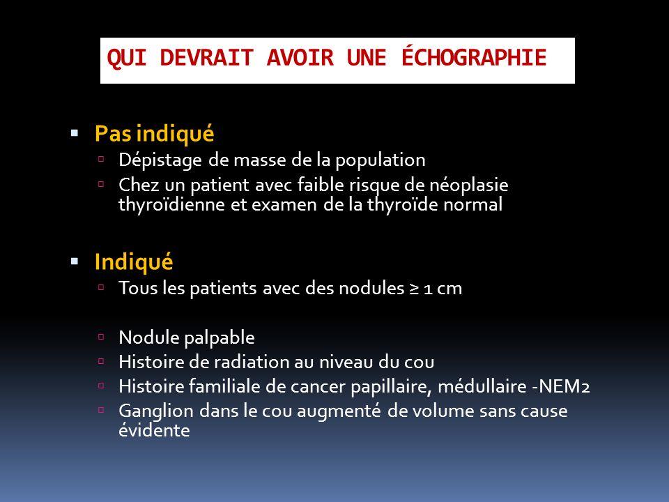 QUI DEVRAIT AVOIR UNE ÉCHOGRAPHIE Pas indiqué Dépistage de masse de la population Chez un patient avec faible risque de néoplasie thyroïdienne et exam