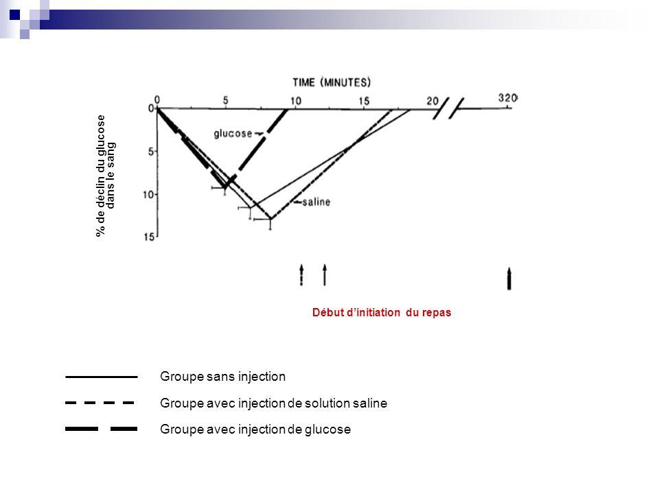 % de déclin du glucose dans le sang Début dinitiation du repas Groupe sans injection Groupe avec injection de solution saline Groupe avec injection de glucose