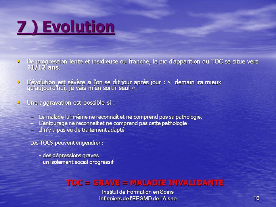 Institut de Formation en Soins Infirmiers de l'EPSMD de l'Aisne16 7 ) Evolution De progression lente et insidieuse ou franche, le pic dapparition du T