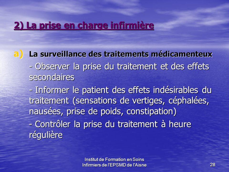 Institut de Formation en Soins Infirmiers de l'EPSMD de l'Aisne28 2) La prise en charge infirmière a) La surveillance des traitements médicamenteux -