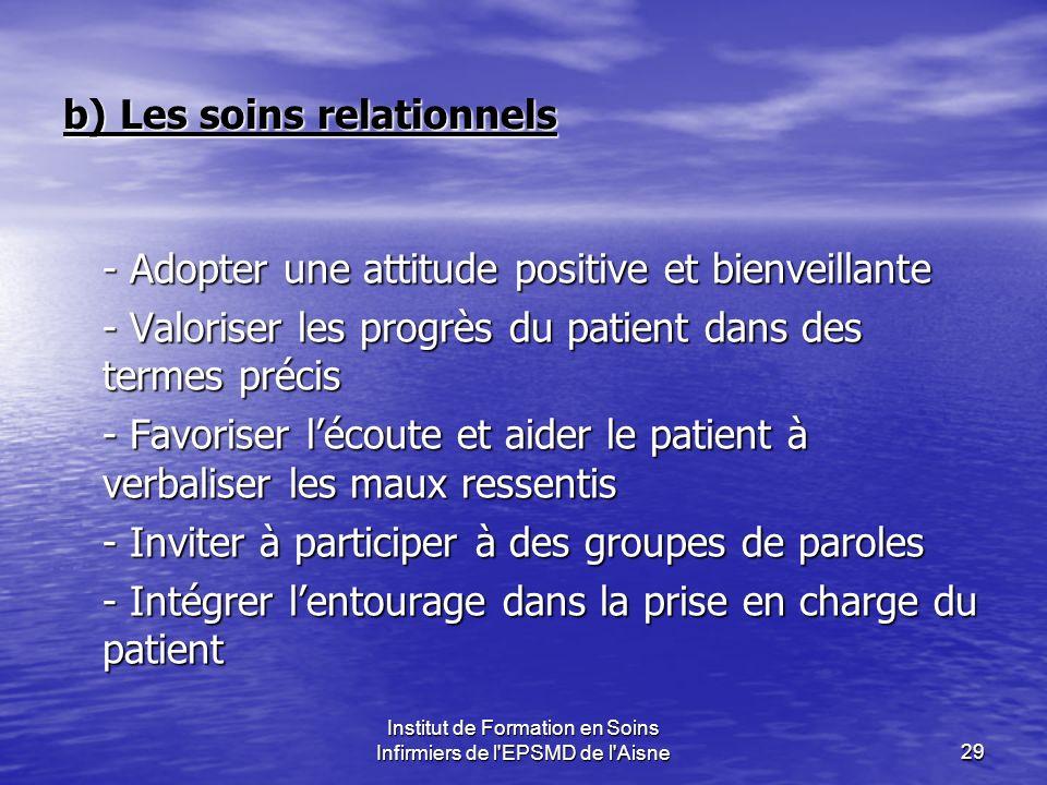 Institut de Formation en Soins Infirmiers de l'EPSMD de l'Aisne29 b) Les soins relationnels - Adopter une attitude positive et bienveillante - Valoris