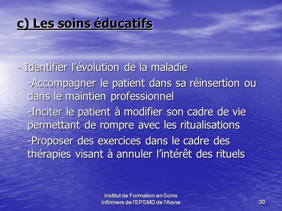 Institut de Formation en Soins Infirmiers de l'EPSMD de l'Aisne30 c) Les soins éducatifs - Identifier lévolution de la maladie -Accompagner le patient