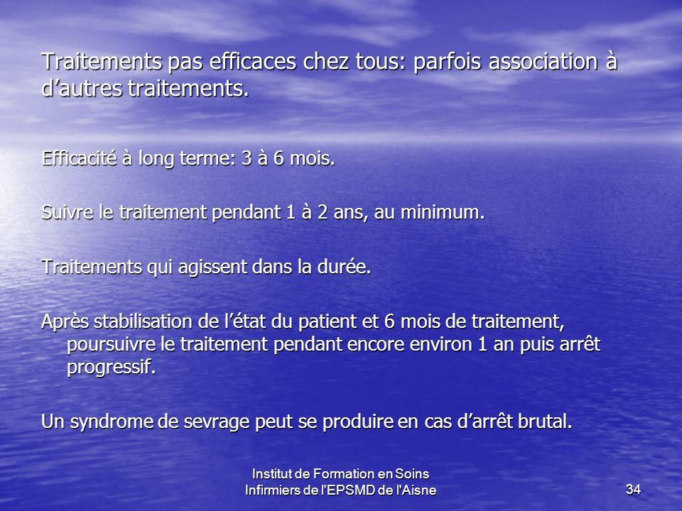 Institut de Formation en Soins Infirmiers de l'EPSMD de l'Aisne34 Traitements pas efficaces chez tous: parfois association à dautres traitements. Effi