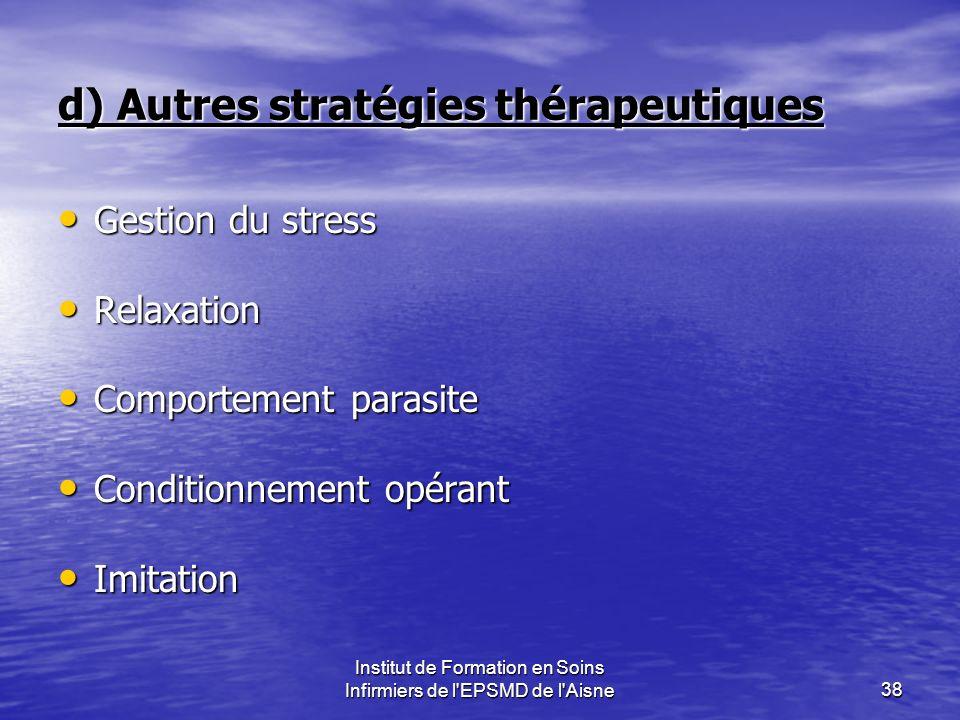 Institut de Formation en Soins Infirmiers de l'EPSMD de l'Aisne38 d) Autres stratégies thérapeutiques Gestion du stress Gestion du stress Relaxation R