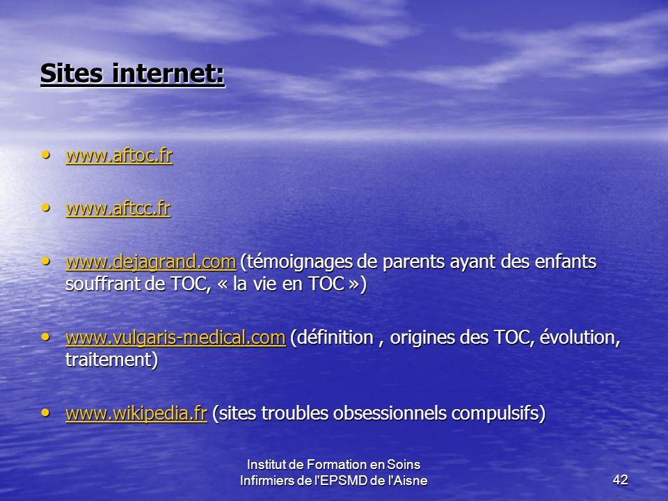 Institut de Formation en Soins Infirmiers de l'EPSMD de l'Aisne42 Sites internet: www.aftoc.fr www.aftoc.fr www.aftoc.fr www.aftcc.fr www.aftcc.fr www