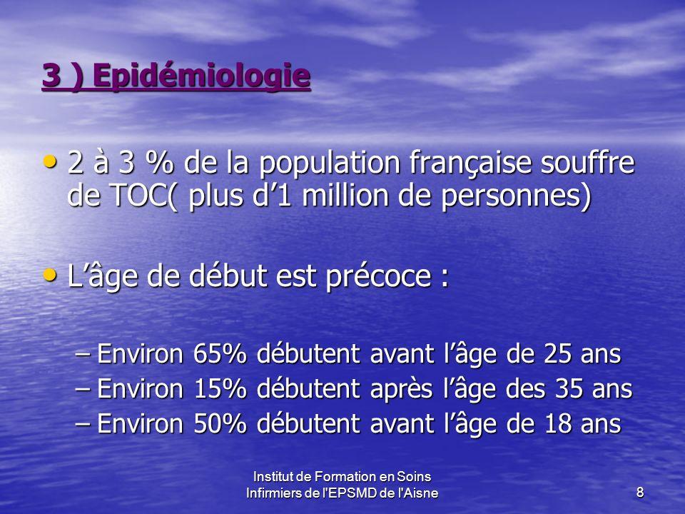 Institut de Formation en Soins Infirmiers de l'EPSMD de l'Aisne8 3 ) Epidémiologie 2 à 3 % de la population française souffre de TOC( plus d1 million