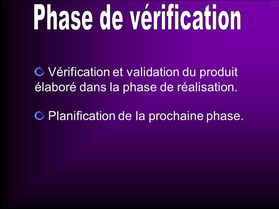Développement et vérification de la solution retenue à l issue de la phase précédente, la phase dévaluation.