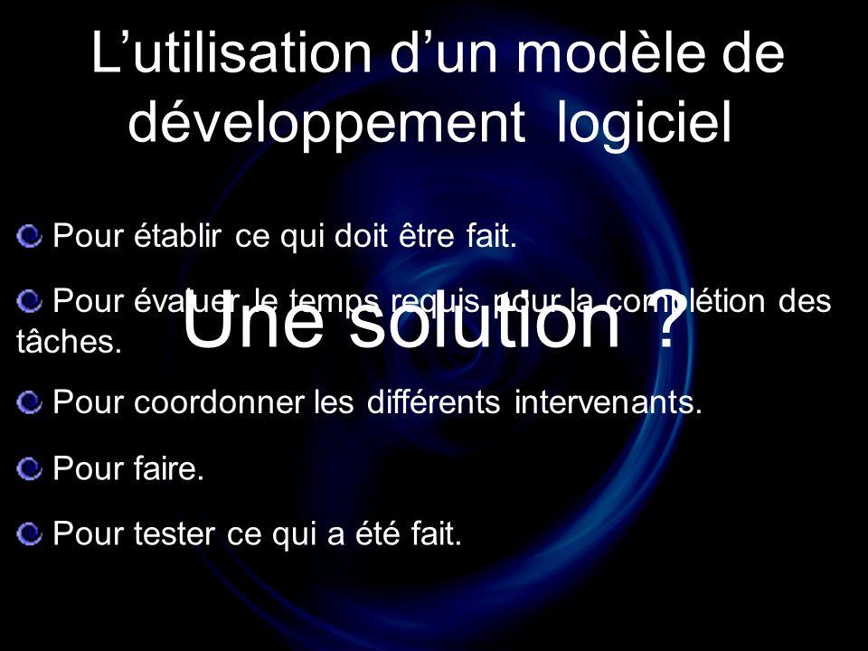 Lutilisation dun modèle de développement logiciel Pour coordonner les différents intervenants.