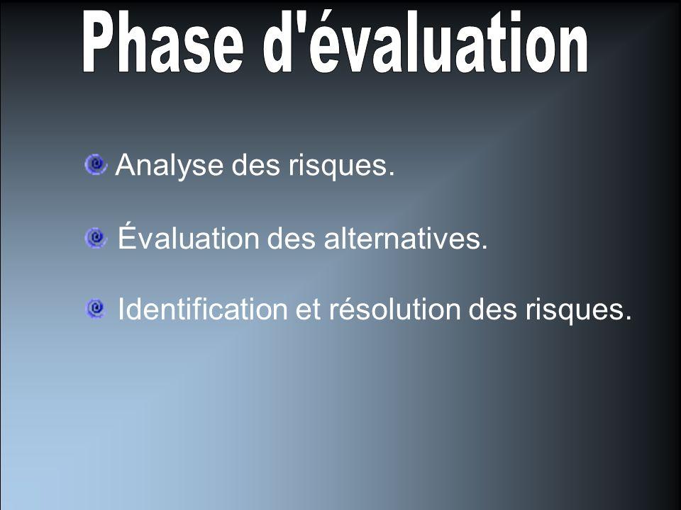 Identification des besoins. Détermination des objectifs. Détermination des alternatives pour atteindre les objectifs. Détermination des contraintes.