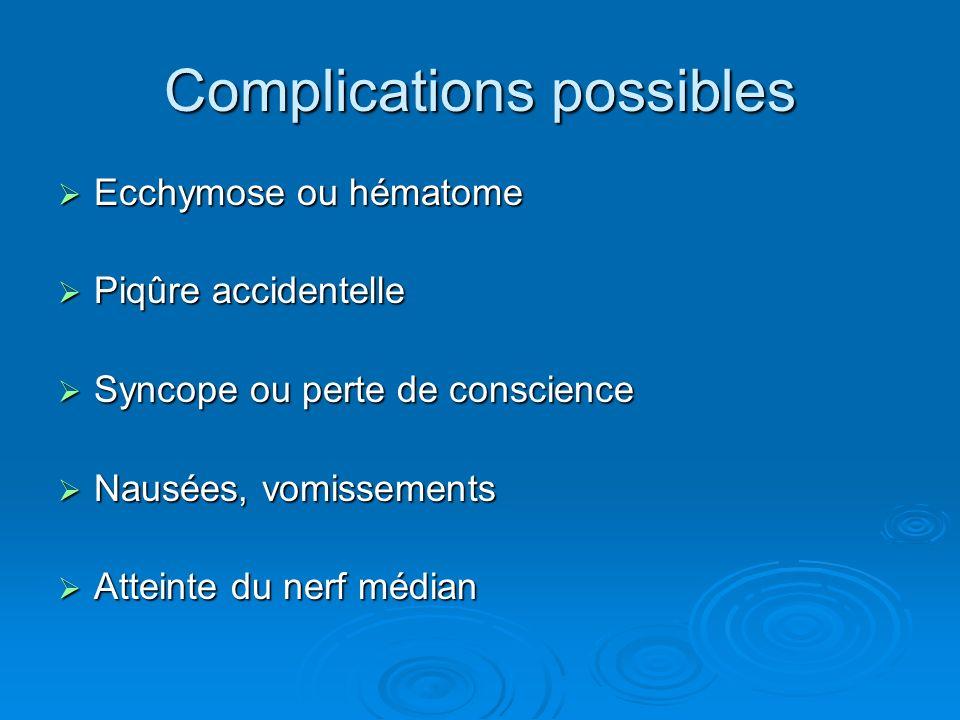 Complications possibles Ecchymose ou hématome Ecchymose ou hématome Piqûre accidentelle Piqûre accidentelle Syncope ou perte de conscience Syncope ou