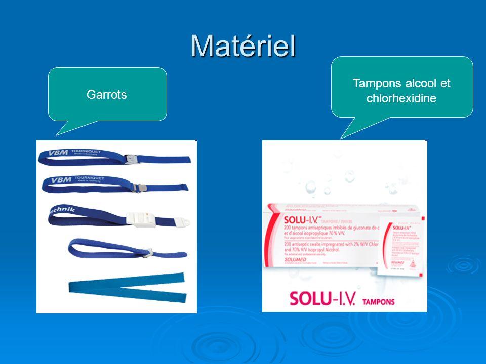 Matériel Garrots Tampons alcool et chlorhexidine