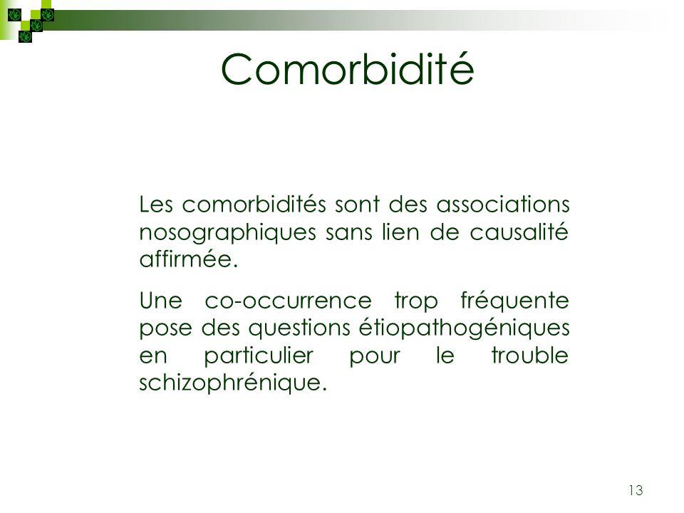 13 Les comorbidités sont des associations nosographiques sans lien de causalité affirmée. Une co-occurrence trop fréquente pose des questions étiopath