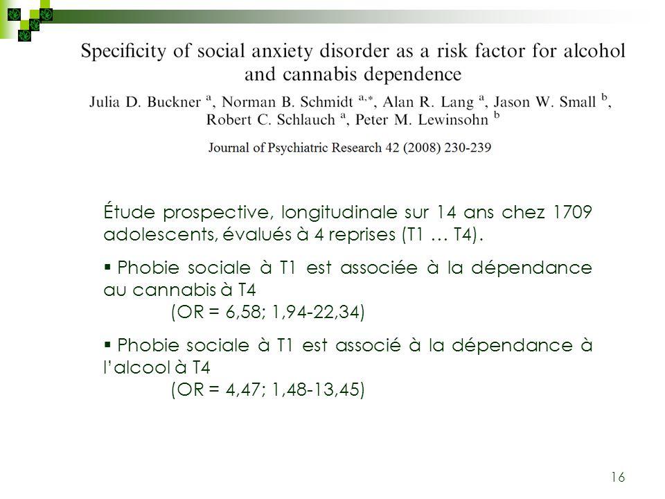 16 Étude prospective, longitudinale sur 14 ans chez 1709 adolescents, évalués à 4 reprises (T1 … T4). Phobie sociale à T1 est associée à la dépendance